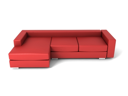 davenport: 3D render double leather sofa on white background.
