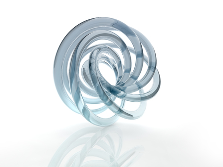 3D glass curve surface shape on white background.