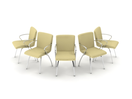 five cloth chairs on white background. photo