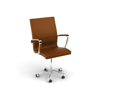 double leather 3d chair on white background. photo