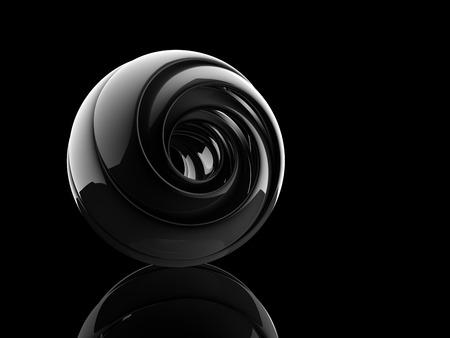 reflective helix shape on black background. Stock Photo