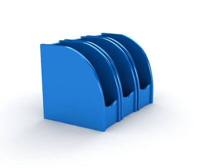 backgroud: blue plastic folder on white backgroud.