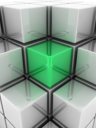 marked boxes: A green cube placed observably in a group of white cubes.