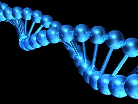 dna strand: 3d DNA model on black background .