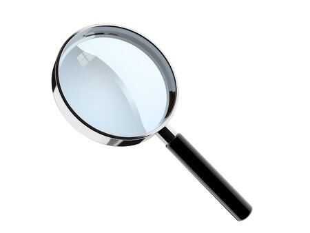 metalic hand lens on white background . photo