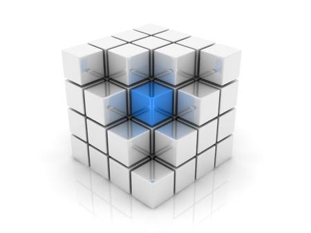marked boxes: A blue cube placed observably in a group of white cubes. Stock Photo