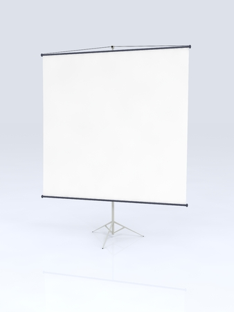 projecting: projecting screen on white background. Stock Photo