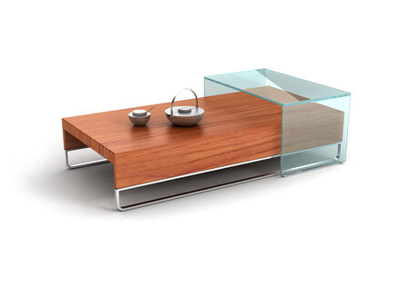 tea table: wood tea table with tea services on it.