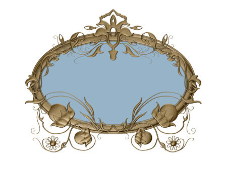 metalic: metalic picture frame with pattern decoration on white background. Stock Photo