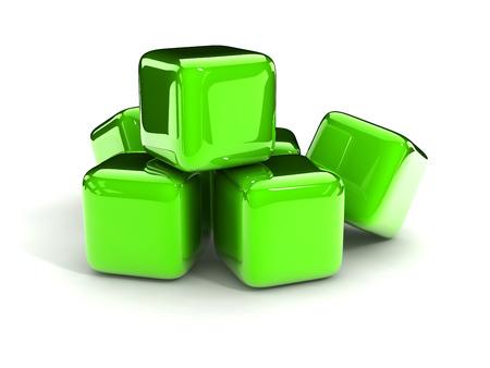 metalic: green metalic cubes on white background . Stock Photo