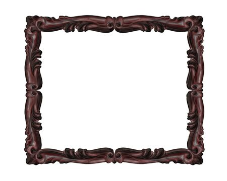 wood carving 3d: wood picture frame with pattern decoration on white background.