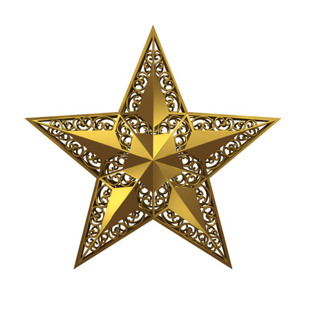 estrellas cinco puntas: golden five-pointed star on white background. Foto de archivo