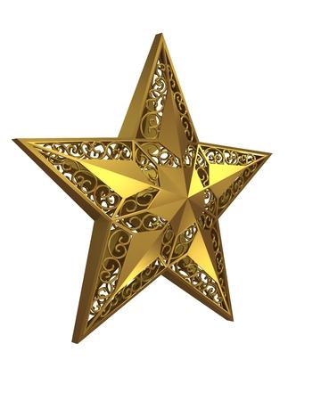 estrellas cinco puntas: estrella de cinco puntas de oro sobre fondo blanco.