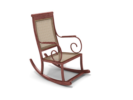 cane chair: wood rocking chair on white backgruond.