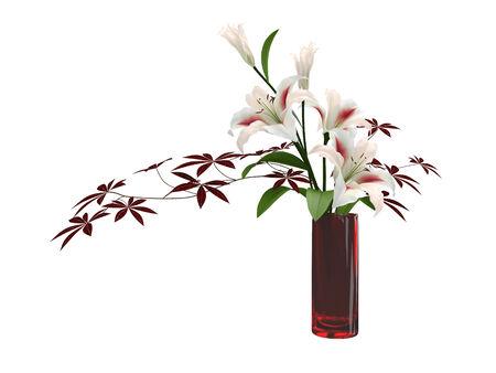 flower vase: vase flower on white background. Stock Photo
