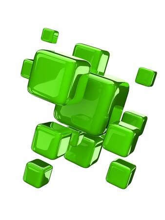 metalic: green metalic cubes on white background. Stock Photo