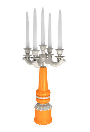 backgruond: metalic candlestick with candles on white backgruond. Stock Photo