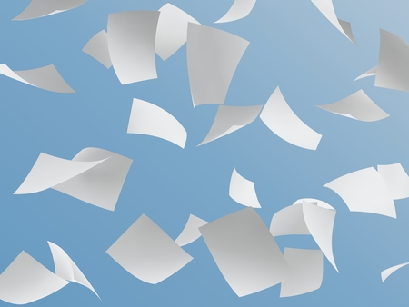crimp: great many white papers flying on blue sky. Stock Photo