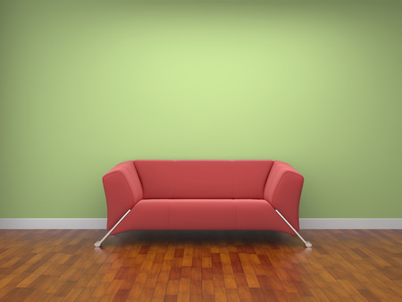 a red cloth sofa in a room. photo