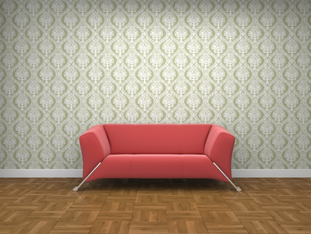 seater: a red cloth sofa in a room.