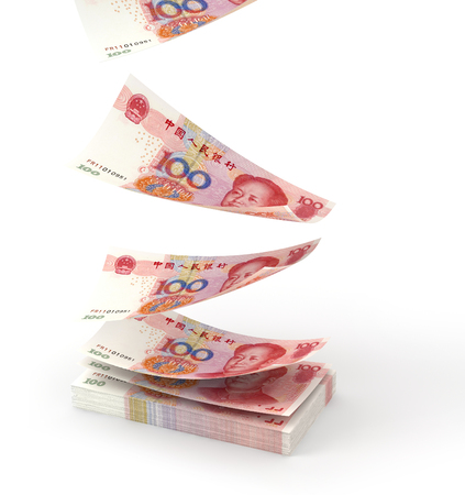 Renminbi falling down to ground, created in 3d software. photo