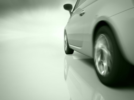 car running toward in motion blur background. Stock Photo