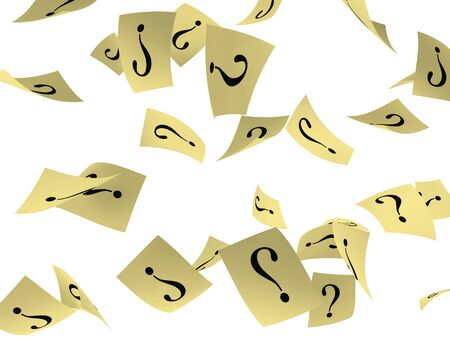 crimp: yellow papers with question mark flying on white background.