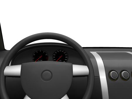 drivers: 3d drivers cab isolated on white background.