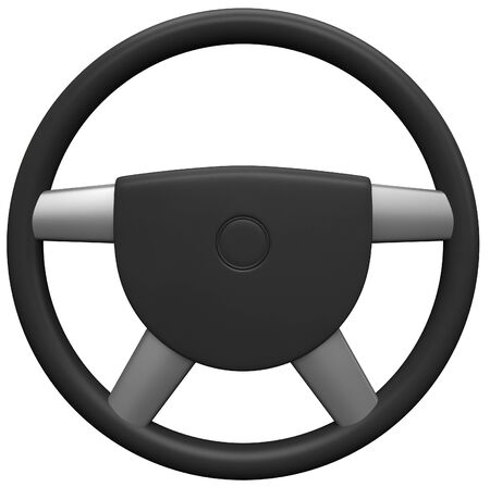 3d black steering wheel isolated on white background.