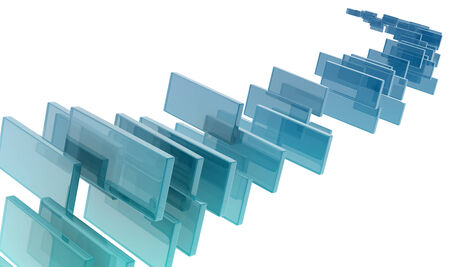 priming: glass rectangles on white background. digitally generated image Stock Photo