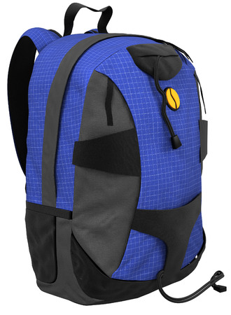 blue black backpack isolated on white background.