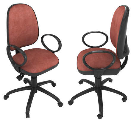 cane chair: leather brown office chair on white background.