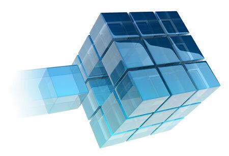 coincidir: cubos de cristal en el fondo blanco. imagen generada digitalmente