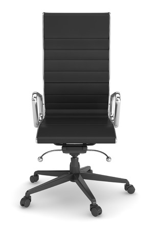 ofis koltuğu: black leather office chair on white background.