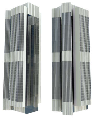 backgruond: 3d skyscraper model in two view on white backgruond.