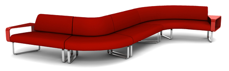 davenport: leather davenport sofa on white background. Stock Photo