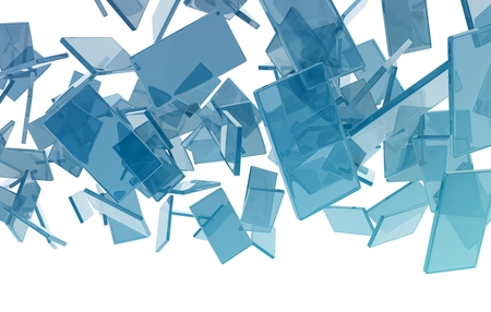 ��digitally generated image�: glass cubes on white background. digitally generated image