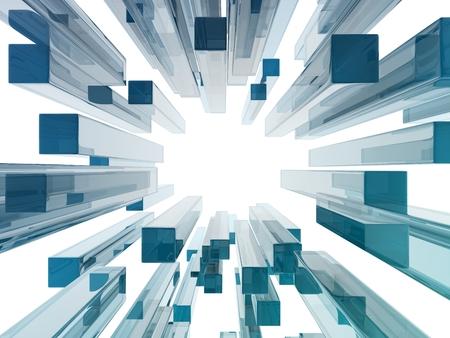 pillar box: glass rectangles on white background. digitally generated image Stock Photo