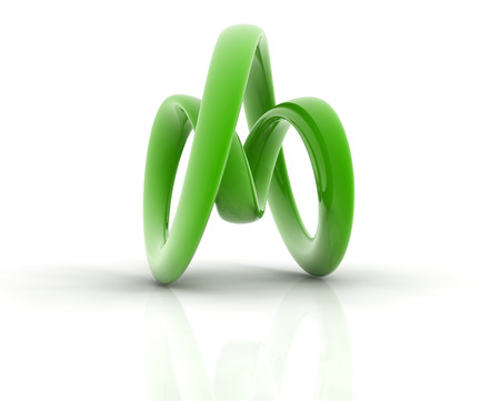 3D metallic curve surface shape on white background.