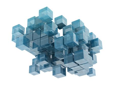 白い背景の上のガラス キューブ。デジタル生成 写真素材