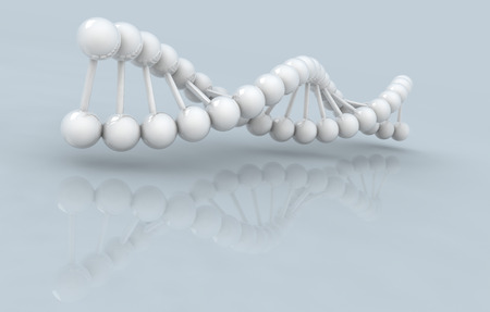 microcosmic: 3d DNA model on gray background. digitally generated image.