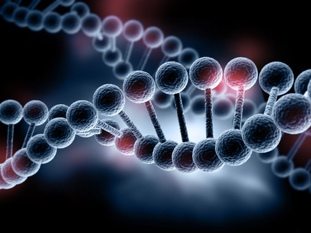 3d black dna model on dark background