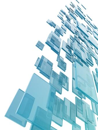 白い背景の上のガラスの長方形。デジタル生成