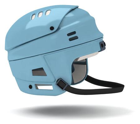 blue ice hockey helmet on white background. photo