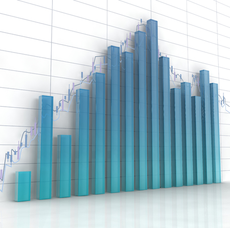 tabulation: 3d blue glass histogram and chart on white background.
