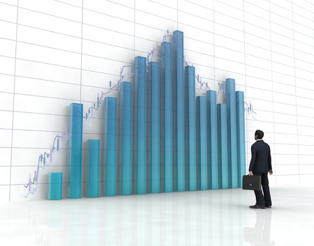 tabulation: 3d blue glass histogram and chart, one business man on it.