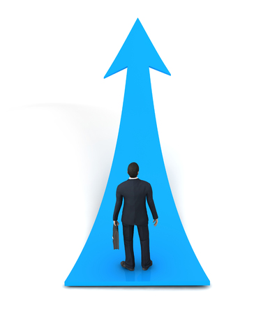 tabulation: 3d blue arrow Sign and business man Stock Photo