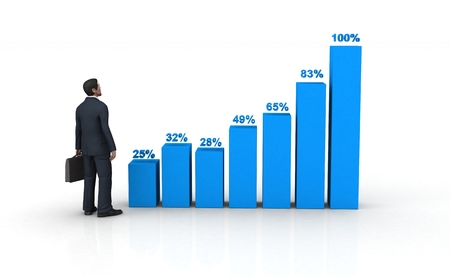 tabulation: blue histogram and business man on white background.