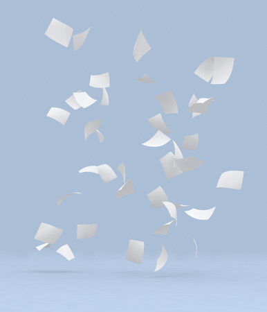 white papers falling to ground on gray background. Standard-Bild