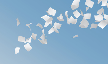 scattered on white background: white papers flying on blue sky background. Stock Photo